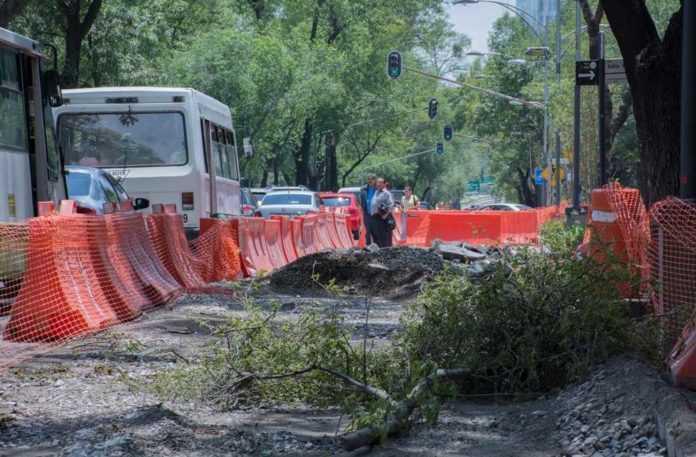 Obras Metrobús en Reforma