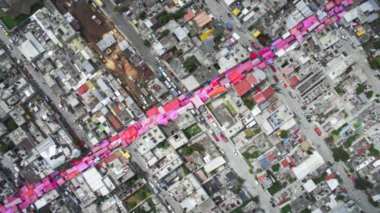 Foto aérea de un mercado en Iztapalapa