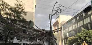 Edificio en San Luis Potosí y Medellín después del temblor