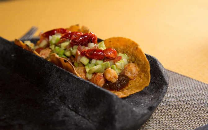 Tacos de langostinos de Limosneros