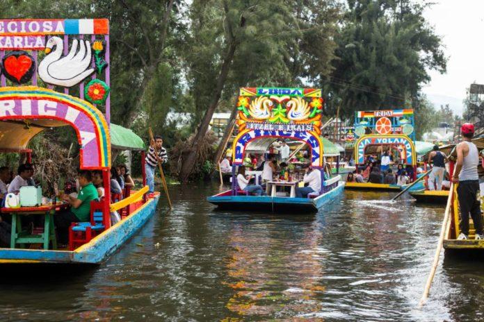 Cosecha en Xochimilco
