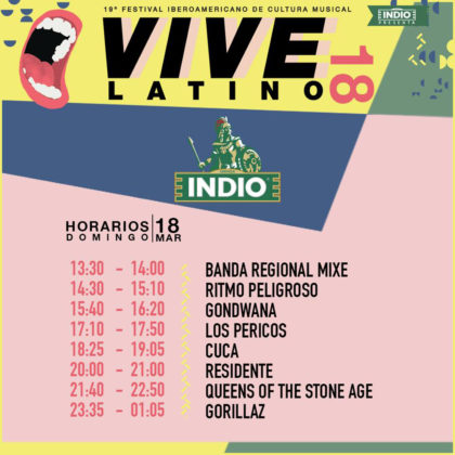 Horarios del Vive Latino 2018