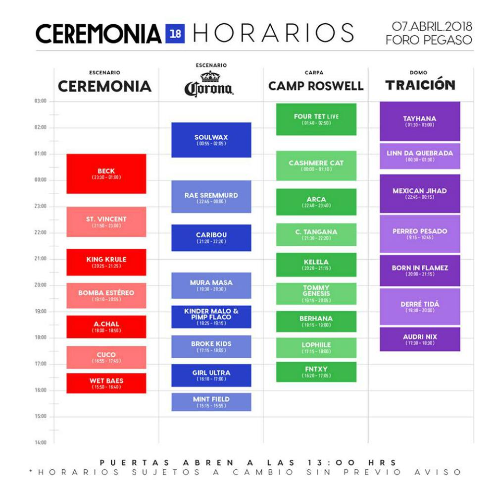 horarios del Ceremonia 2018