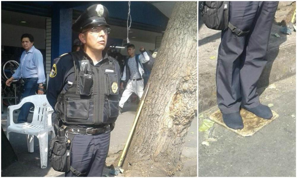 Policía sin zapatos se vuelve viral en redes