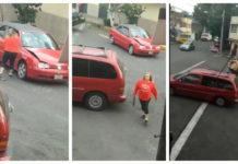mujer destrozó un vehículo