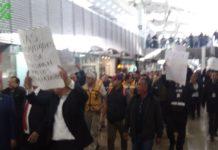 protesta en el aeropuerto