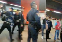 polis y ambulantes en el Metro
