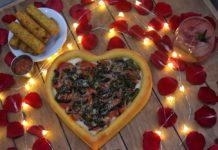 Pizza con forma de corazón