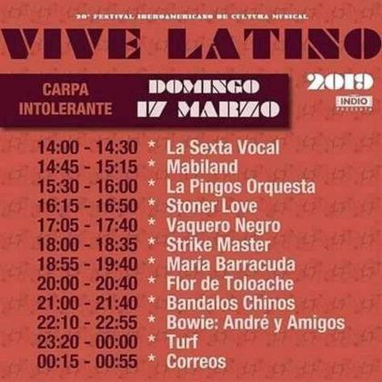 horarios del Vive Latino 2019