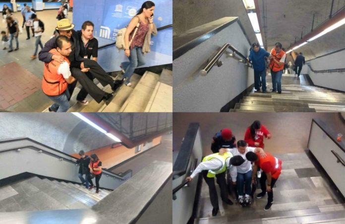 Cargan a usuarios del Metro por falta de escaleras eléctricas en la Línea 7