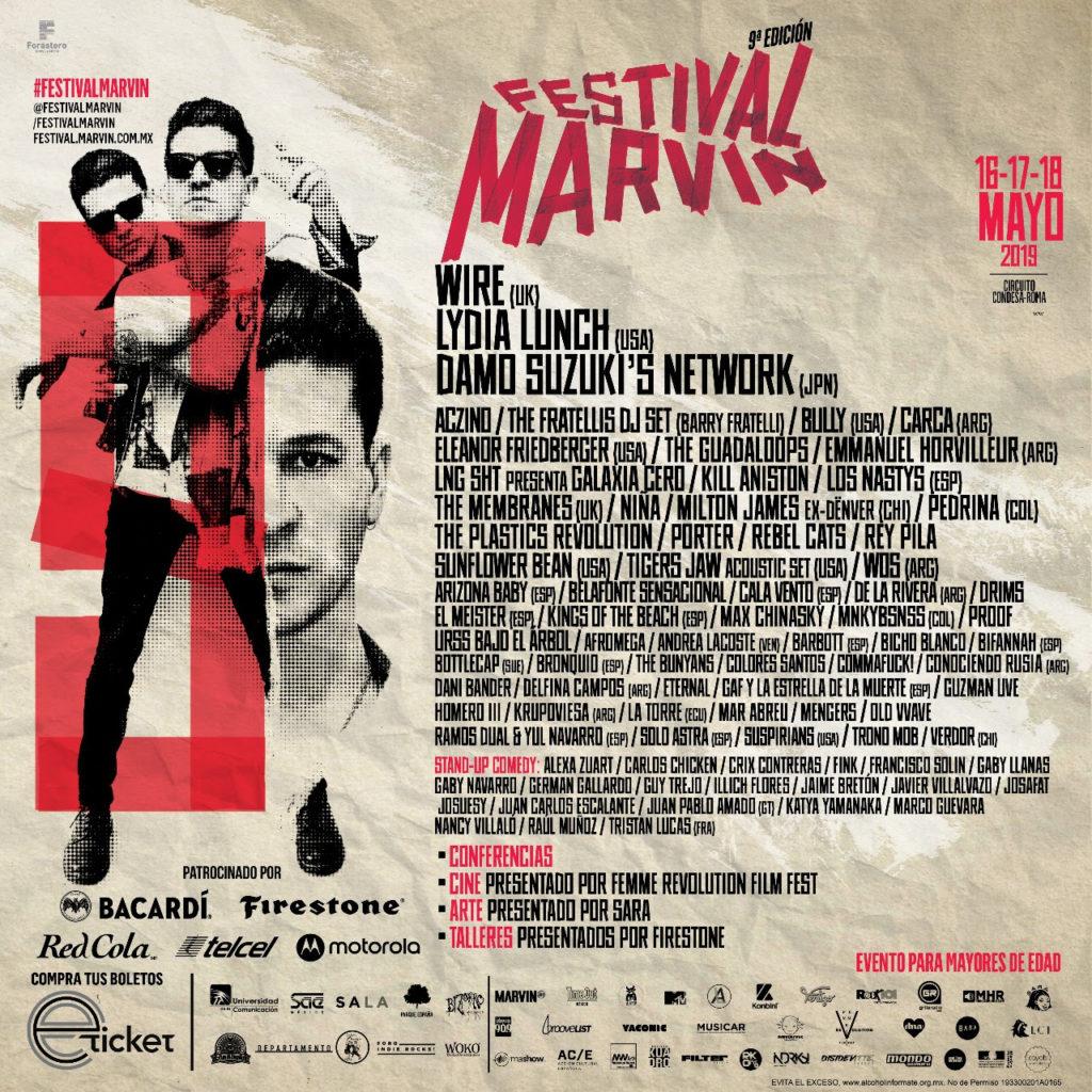horarios del Festival Marvin 2019 POSTER
