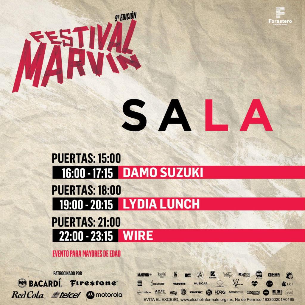 horarios del Festival Marvin 2019 SALA