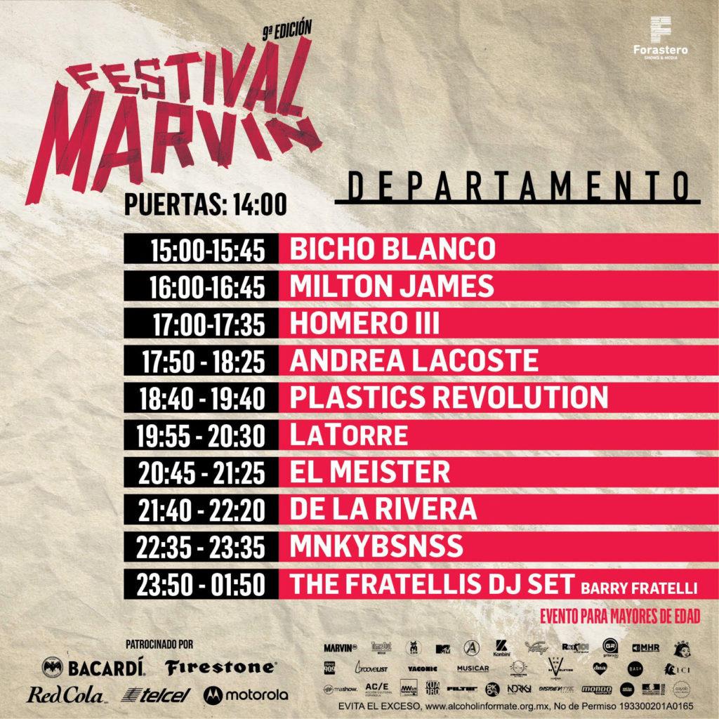 horarios del Festival Marvin 2019 departamento
