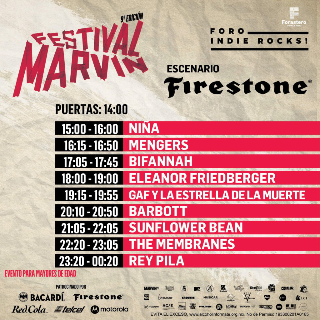 horarios del Festival Marvin 2019 firestone