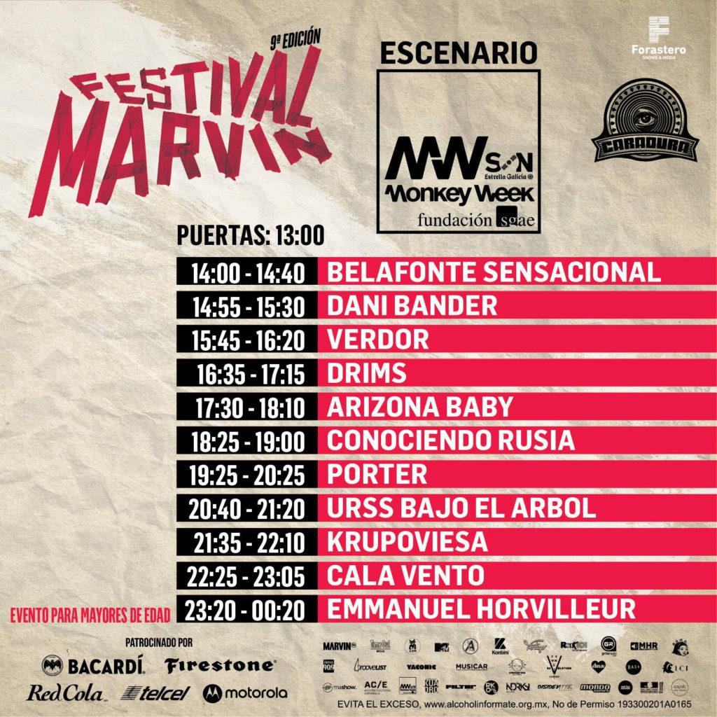 horarios del Festival Marvin 2019 money week