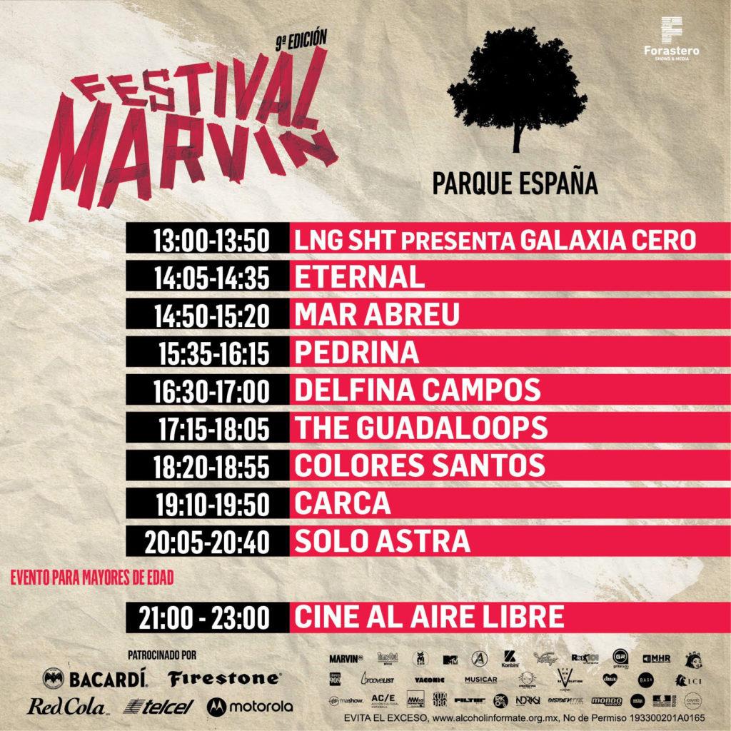 horarios del Festival Marvin 2019 parque españa