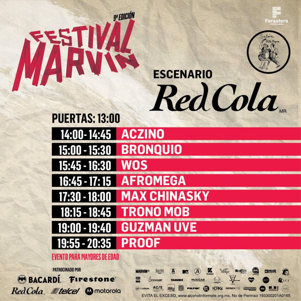 horarios del Festival Marvin 2019 red cola