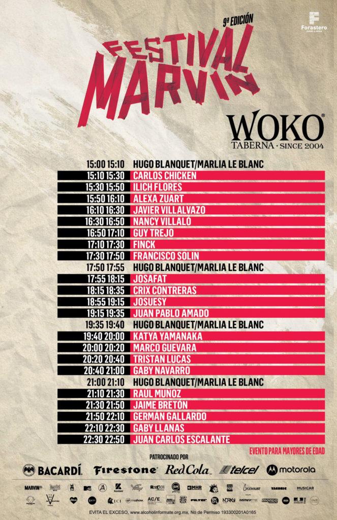 horarios del Festival Marvin 2019WOKO