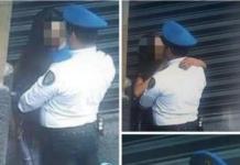 policía fotografiado en pleno beso