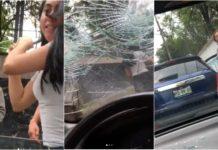 mujer destroza auto a batazos