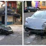 Lamborghini que chocó en la Roma
