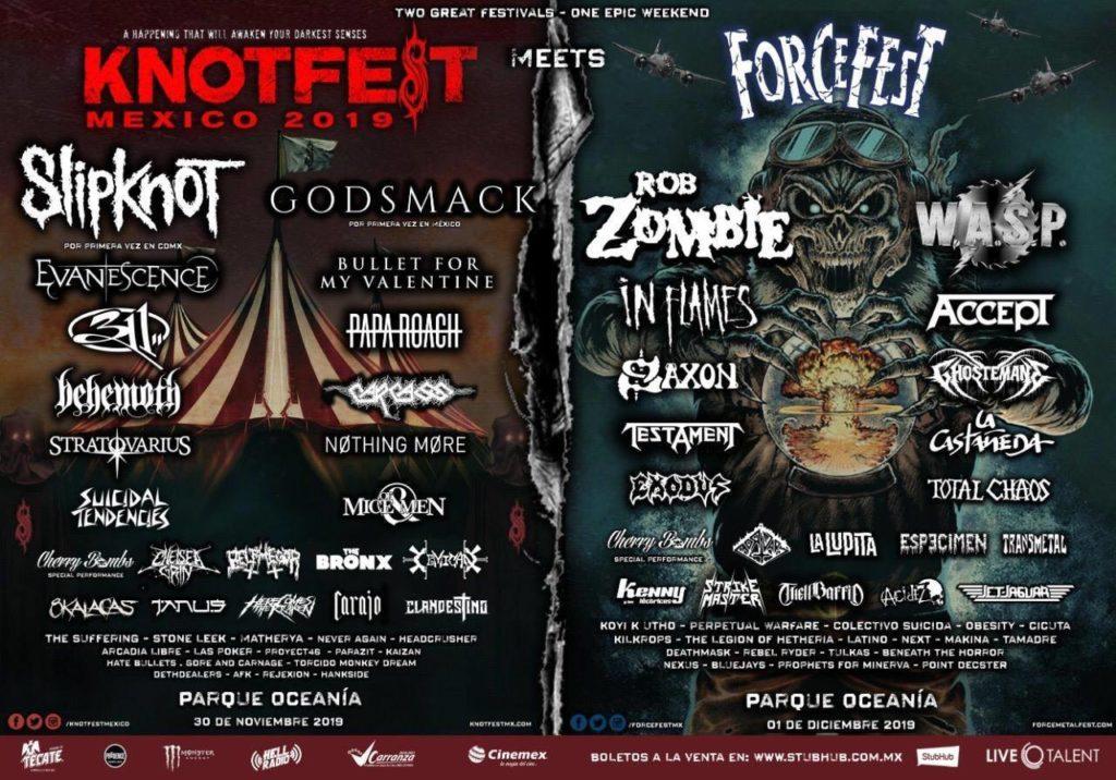 cartel completo del Knotfest Meets Force Fest bandas