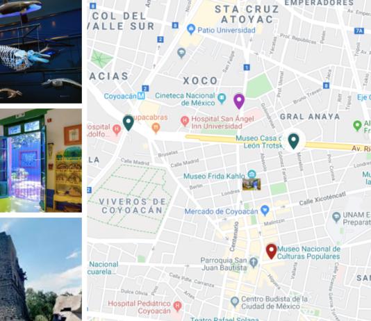 mapa de museos en Coyoacán