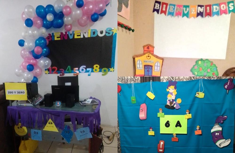 10 en creatividad: maestras adaptan sus casas para las clases